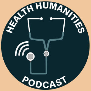 Logo that contains a stethoscope encircled by the words Health Humanities Podcast
